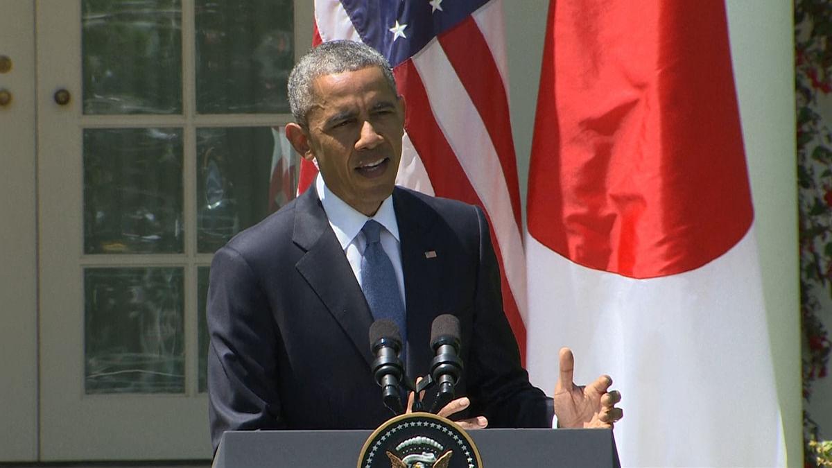 US President Obama addressing the media (AP video grab)