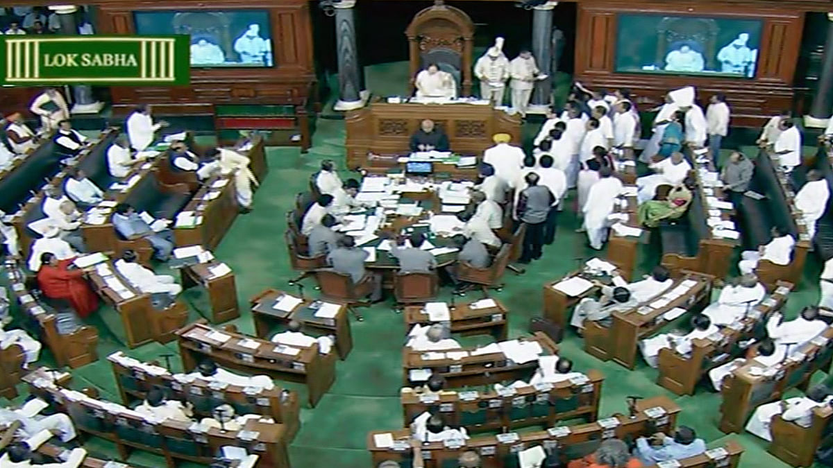 Congress leaders create furore in Lok Sabha demanding a discussion on the issue immediately. (Photo: LS TV screenshot)
