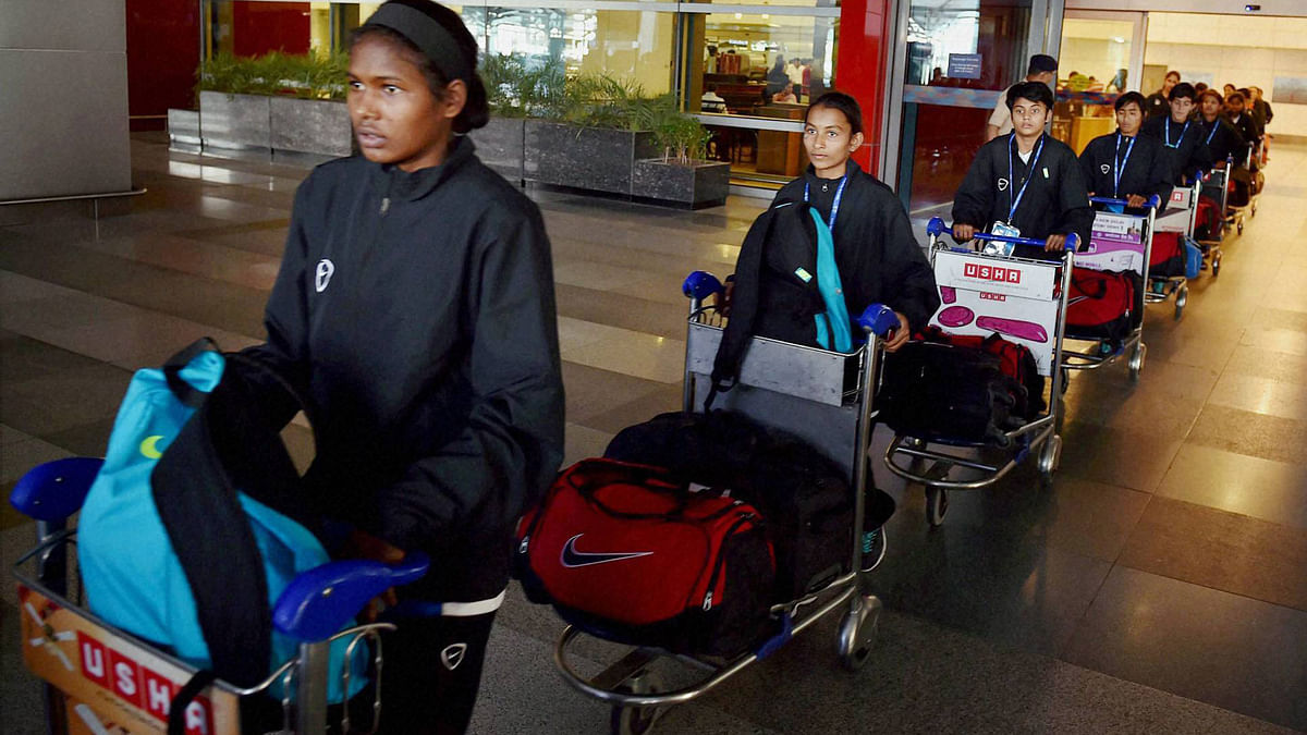 India's U-14 Girls' Football Team comes out of IGI Airport after being evacuated from Nepal by a special IAF aircraft.