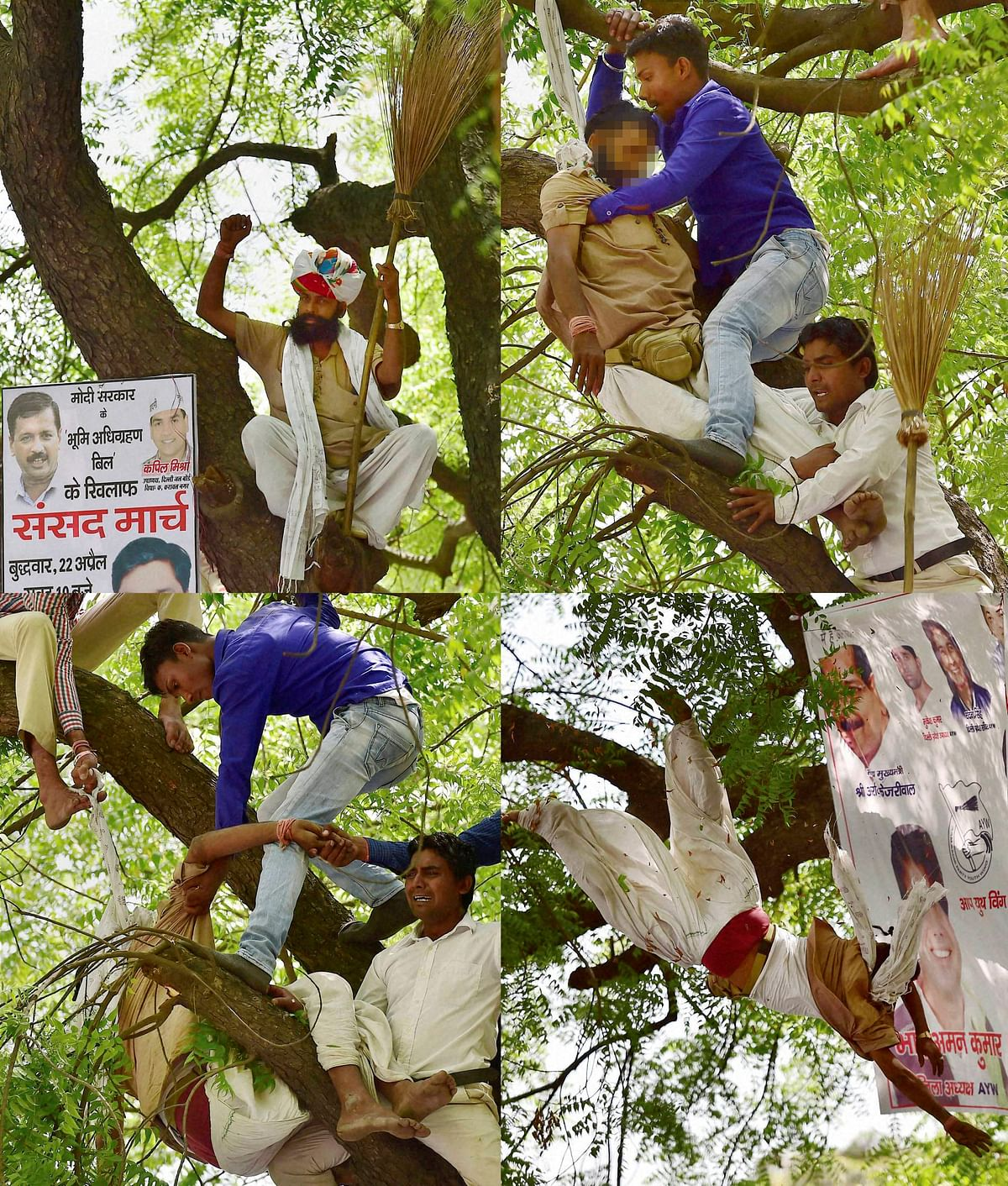 Volunteers attempted to cut Gajendra Singh down. (Photo: PTI)