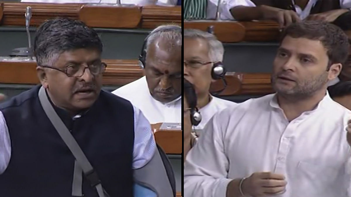 Union Telecom Minister Ravishankar Prasad (left) and Congress Vice President Rahul Gandhi (right) discuss net neutrality in Lok Sabha. (Photo: ANI screenshot)