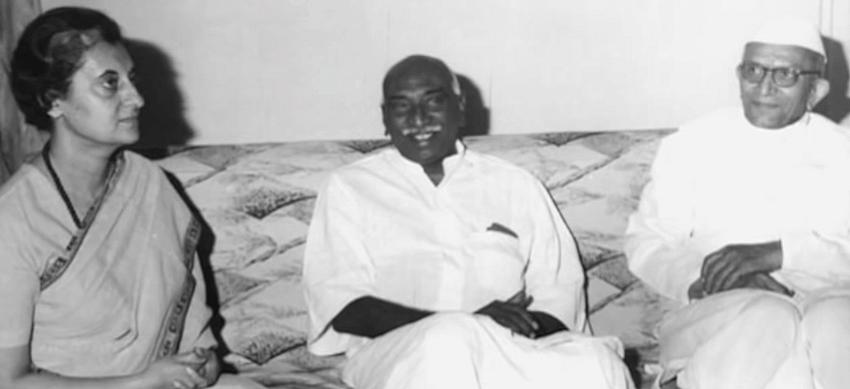 Desai with Indira Gandhi and Kamaraj. While Kamaraj was a close aide of Desai's, he broke away and supported Indira Gandhi (Courtesy: Youtube.com)