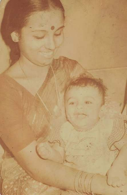 Harish Iyer as a baby with mother Padma Iyer