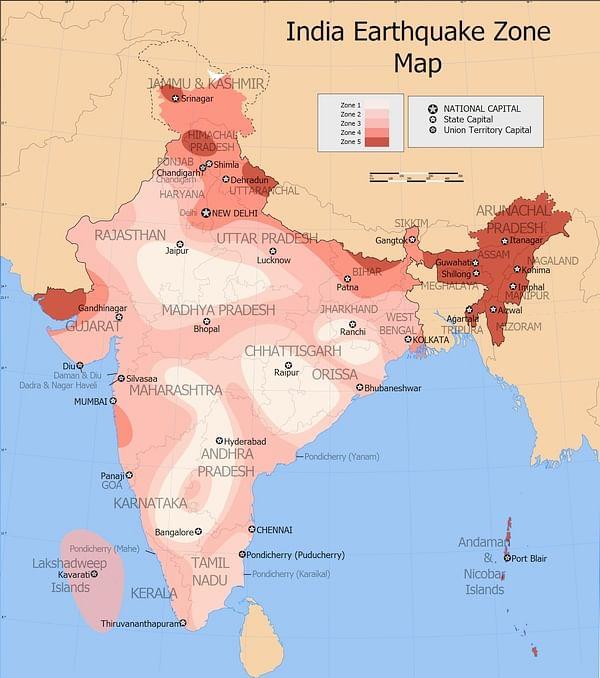 "<em>Image Credit: <a href=""http://en.wikipedia.org/wiki/File:India_earthquake_zone_map_en.svg"">Wikimedia/Arun Ganesh</a></em>"