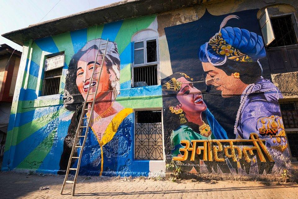 Almost done!: 'Madhubala' mural on Chapel Road, Bandra (Photo: Facebook/Bollywood Art Project)