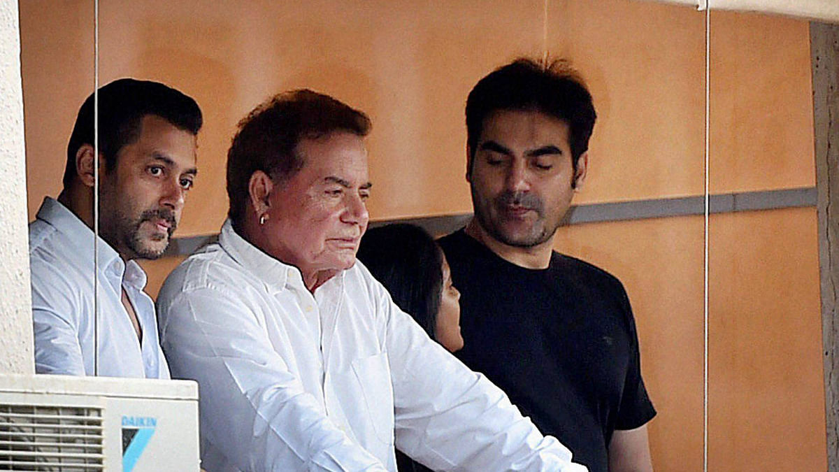 Salman Khan (extreme left) with his father Salim Khan (middle) and brother Arbaaz Khan (right). (Photo: PTI)