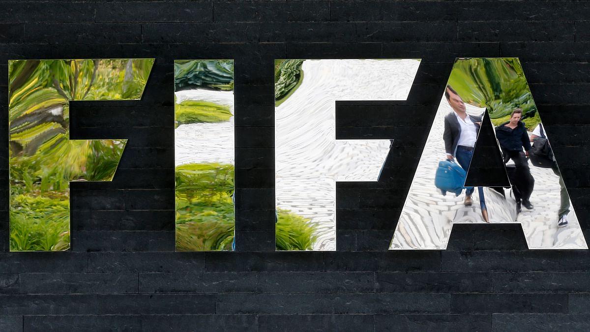 The FIFA logo at  FIFA's headquarters in Zurich, Switzerland. (Photo; AP)<!--EndFragment-->