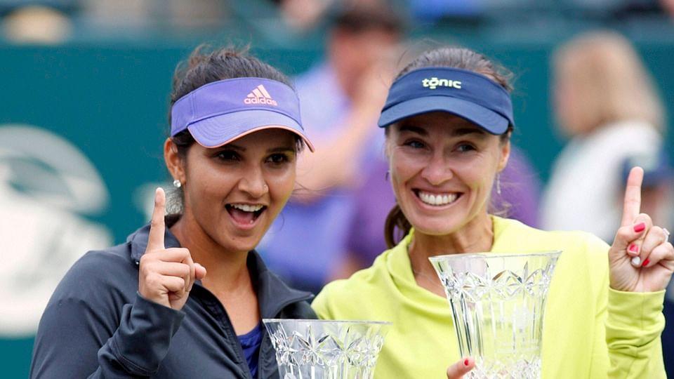 File photo of Sania Mirza (L) and Martina Hingis. (Photo: PTI)