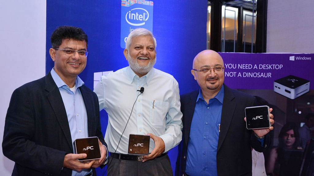 From Left,Vineet Durani, Director – Windows Business at Microsoft Corporation India, Rajeev Bajpai, President - WPG C&C Computers and Peripherals and Rajeev Bajpai, President - WPG C&C Computers and Peripherals at the launch. (Photo: Intel)