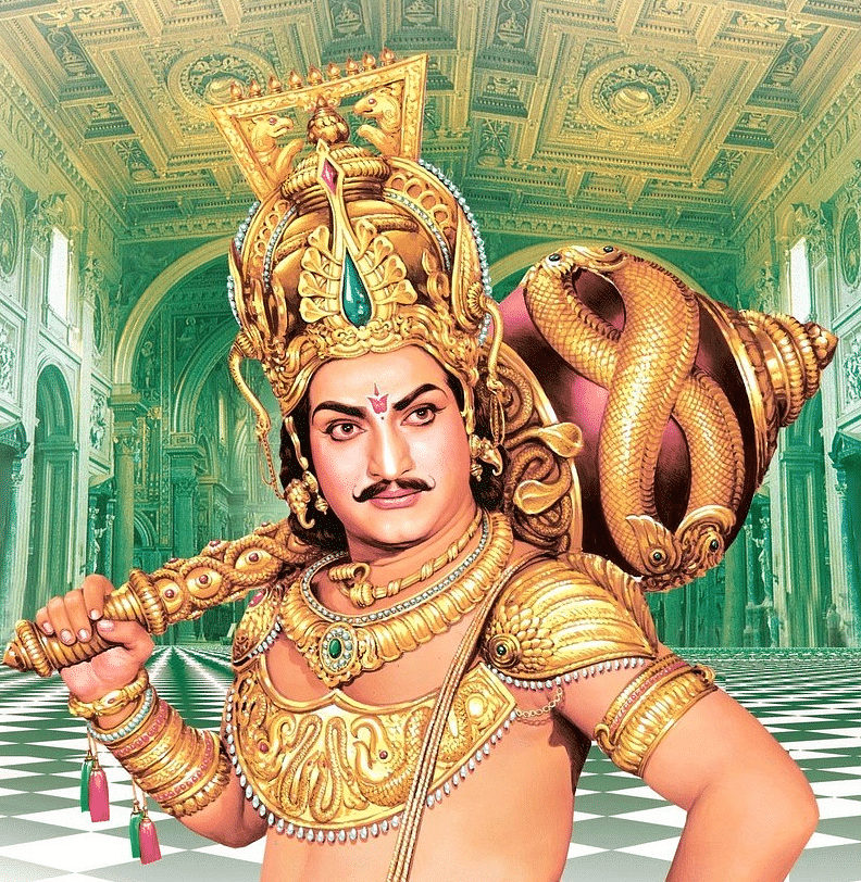 A movie poster of one of NTR's mythological movies.