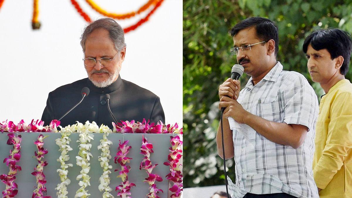 Delhi Lt Governor Najeeb Jung (left) and Delhi CM Arvind Kejriwal (right).