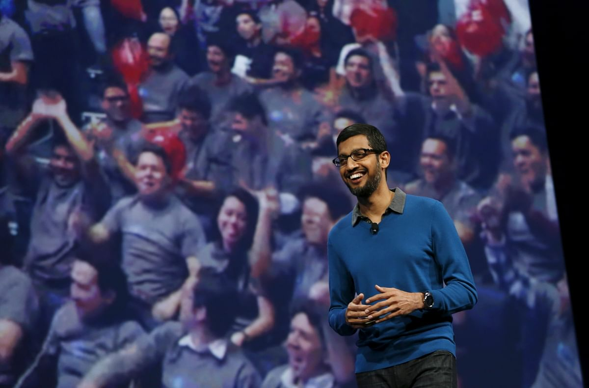 Sundar Pichai, Senior Vice President for products, on stage at the conference. (Photo: Reuters)