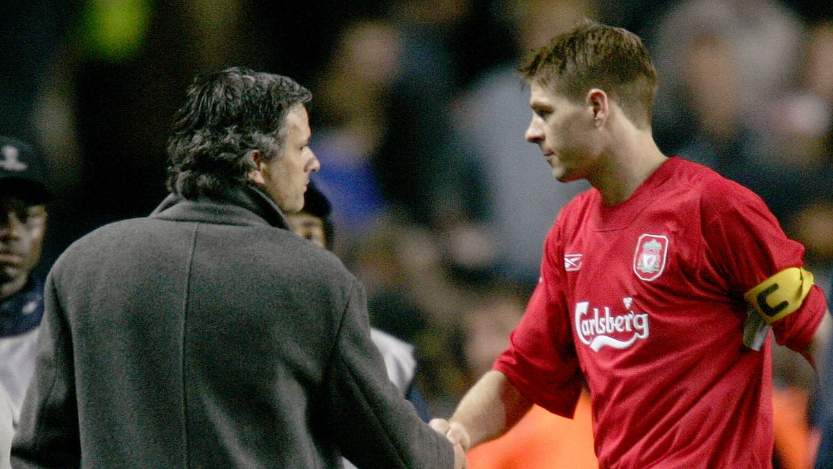 File picture of Chelsea manager Mourinho shaking hands with Liverpool captain Gerrard after their Champions League semi-final first leg soccer match on April 27, 2005. The match ended in a 0-0 draw. (Photo: Reuters)