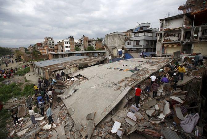 A house broke down after the 2015 earthquake in Kathmandu, Nepal.