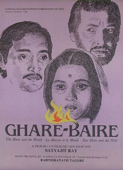 A movie poster of Ghare Baire (1984).