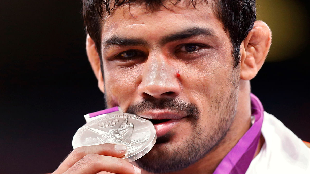 Sushil Kumar with his silver medal from the London Olympics. (Photo: Reuters)