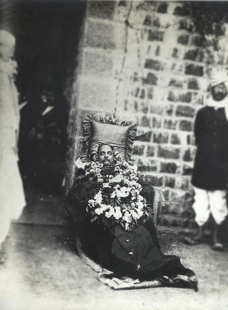 Rare photo: Gokhale's body lying in repose after his death in Pune, 1915, at the young age of 48. (Courtesy: NMML)