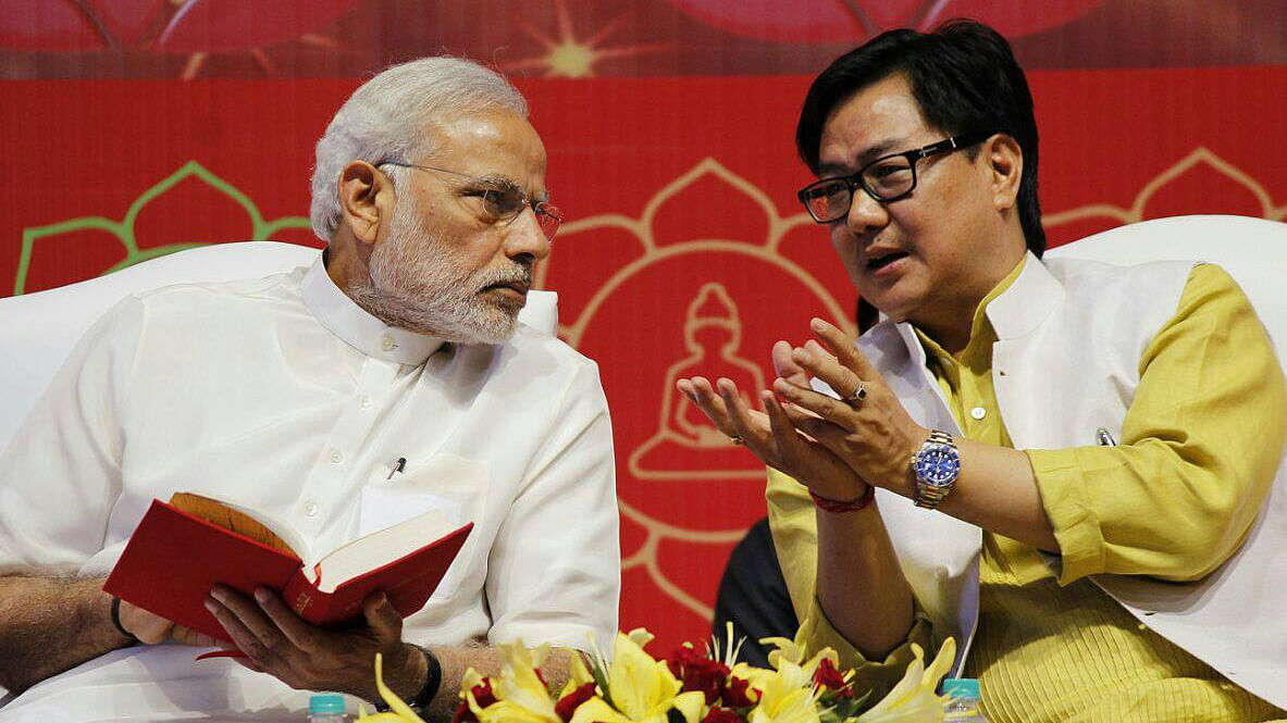 "Prime Minister Narendra Modi with MoS Home, Kiren Rijiju (R). (Photo Courtesy: <a href=""https://www.facebook.com/krijiju?fref=ts"">Facebook.com/Kiren Rijiju</a>)"