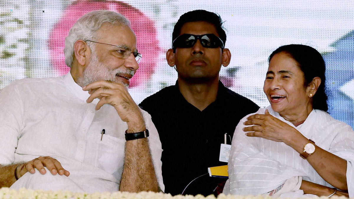 Prime Minister Narendra Modi and West Bengal Chief Minister Mamata Banerjee during the dedication of the Modernized and expanded IISCO Steel Plant to the nation at Polo Ground in Asansol. (Photo: PTI)
