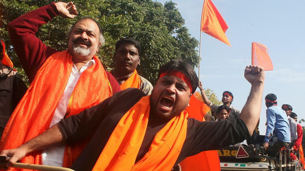 Members from the hardline Hindu group, Vishwa Hindu Parishad (VHP)during a demonstration. (Photo: Reuters)