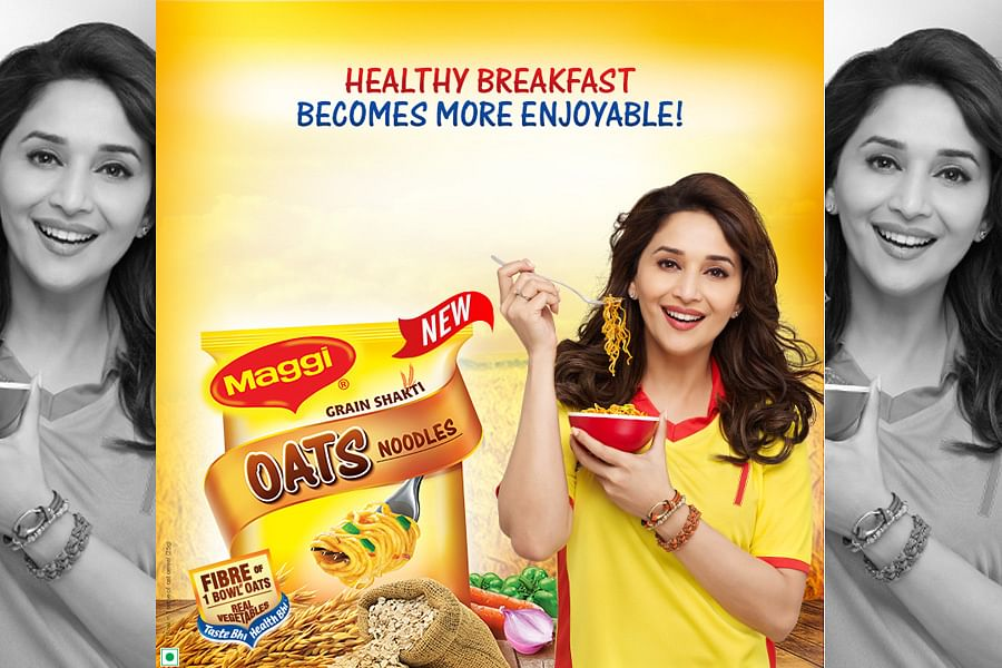 """Actress Madhuri Dixit in trouble for endorsing Maggi noodles. (Courtesy: <a href=""""https://www.facebook.com/merimaggi/photos/pb.141282479259004.-2207520000.1432931423./706361856084394/?type=3&amp;theater"""">Facebook</a>)"""