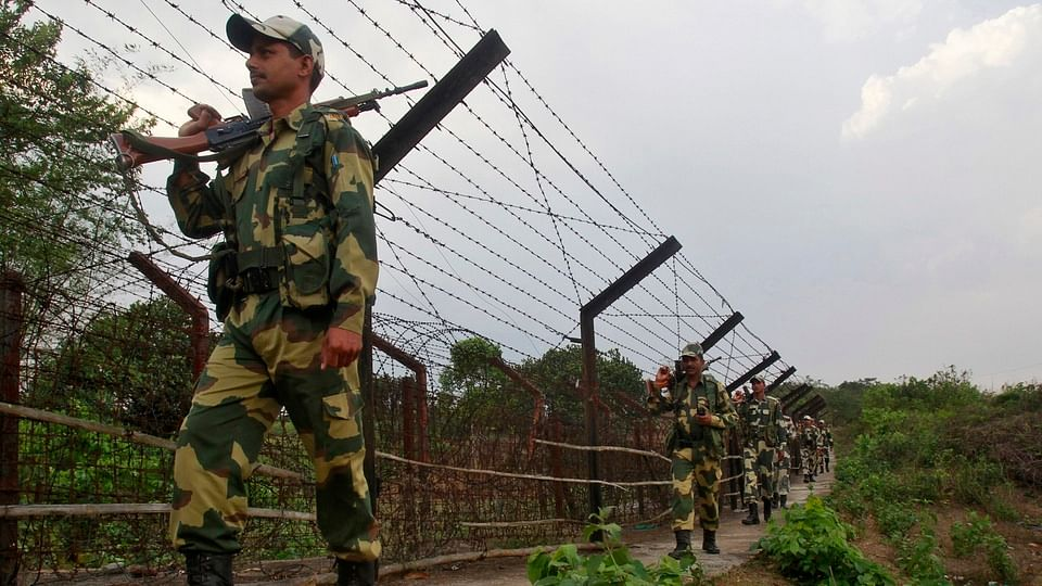 India's Border Security Force (BSF) soldiers on patrol.