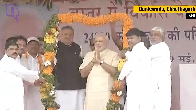 PM Modi inaugurates developmental projects in Dantewada. (Photo: ANI screengrab)