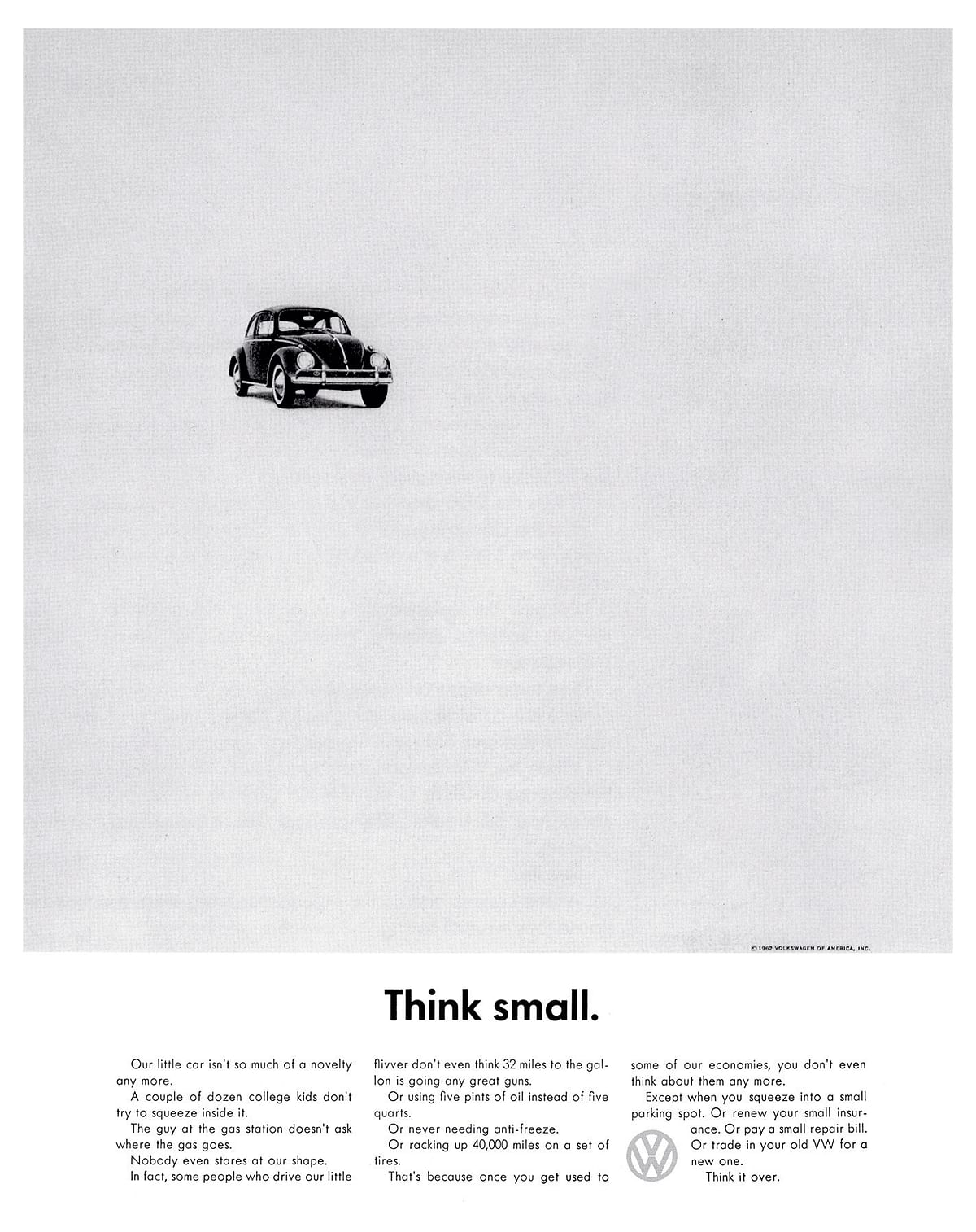"""The Think Small campaign. (Photo: <a href=""""http://media.vw.com/"""">Volkswagen</a>)"""