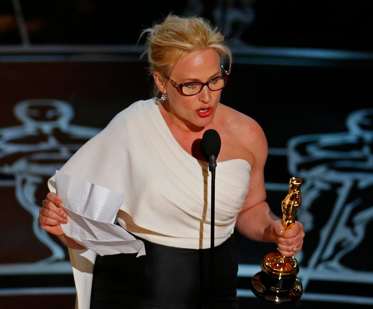 Patricia Arquette during her passionate Oscar speech about wage equality for women.