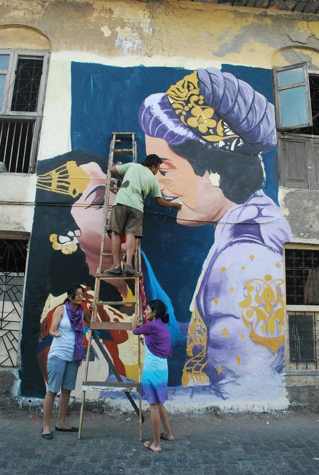 Work In Progress: BAP's <i>Anarkali </i>(1953) mural on Chapel Road, Bandra (Photo: Facebook/Bollywood Art Project)