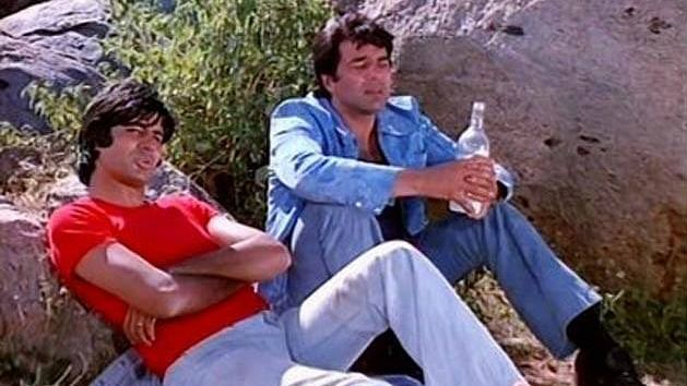 A screenshot from the movie Sholay.