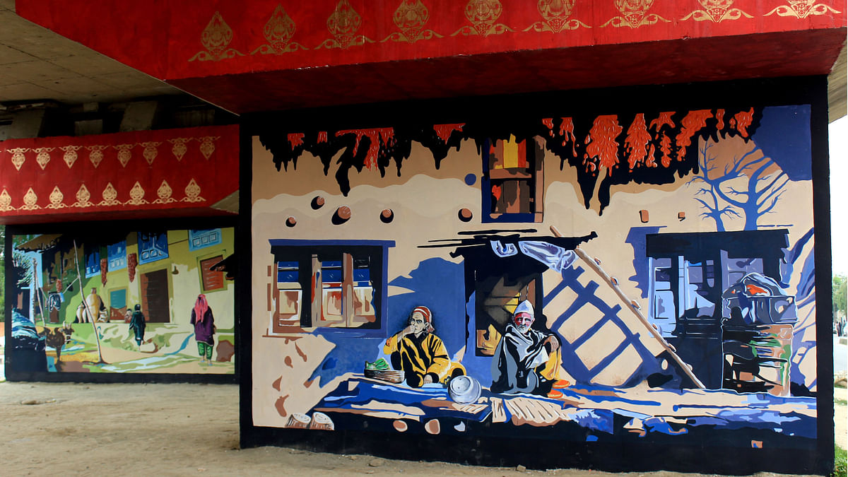 A mural depicting Kashmiri village lifenear Hyderpora in Srinagar. (Photo: Ahmad Mukhtiyar)