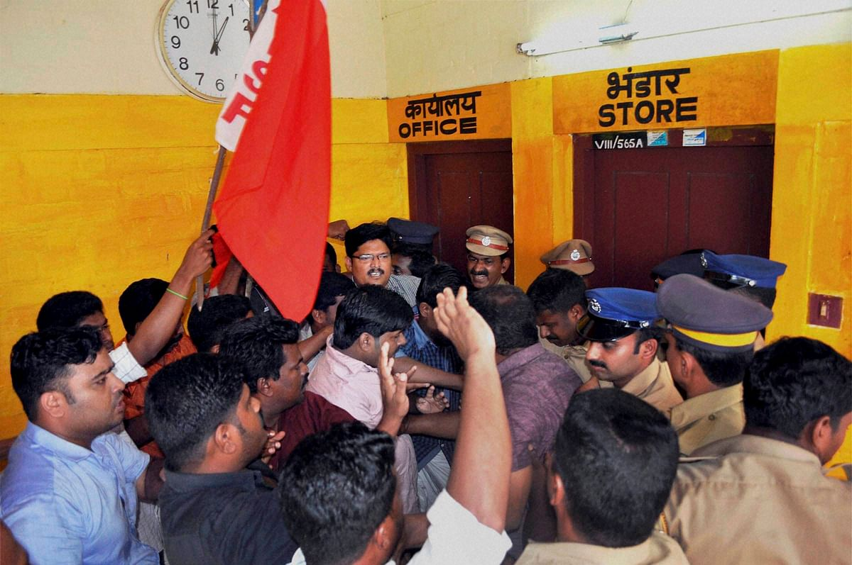 Alappuzha: People protest at Sports Authority of India centre in Alappuzha after a SAI student Aparna (15) died on Thursday. (Photo: PTI)