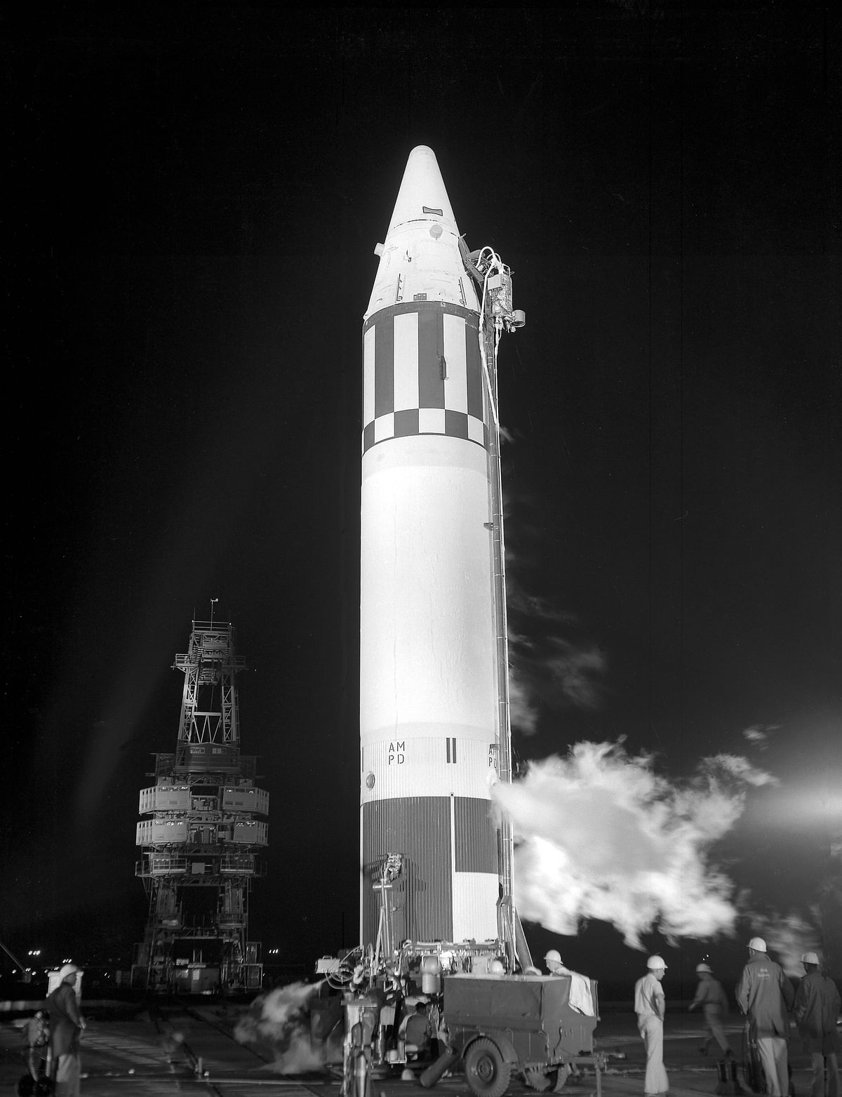 Jupiter AM-18 stands ready for its 2:39 am on May 28 forlaunch at Cape Canaveral launch complex 26B. (Photo Courtesy: Wikimedia Commons)