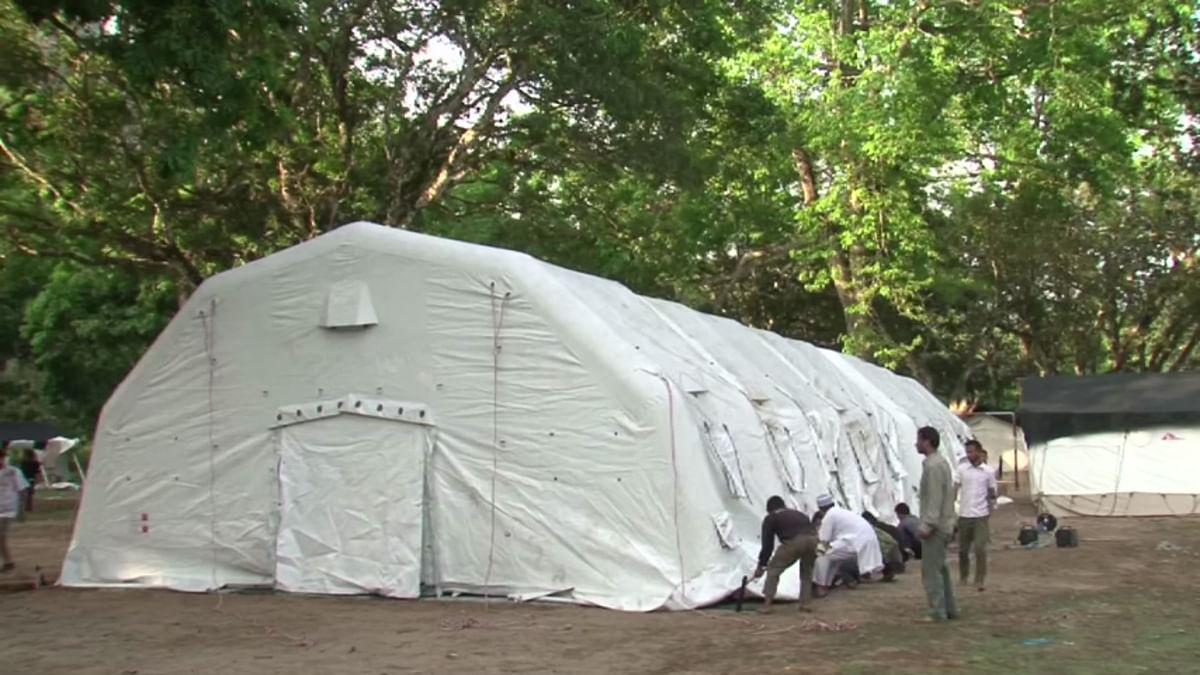 MSF's Inflatable hospital in Nepal. (Screengrab taken fromMSF video)