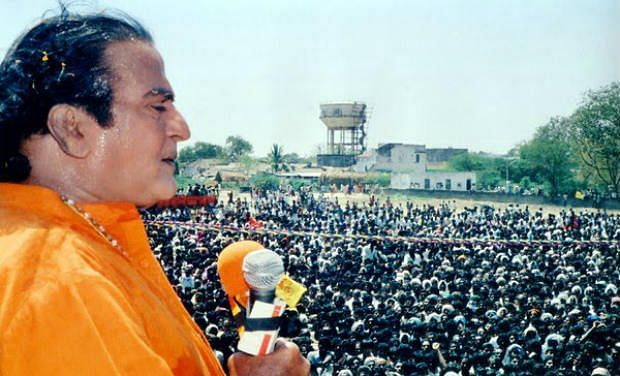 NT Rama Rao addressing a rally after the TDP was elected into power in Andhra Pradesh.