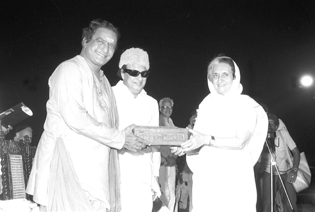 Former Prime Minister  Indira Gandhi with the former Andhra Pradesh Chief Minister NT Rama Rao in 1983.