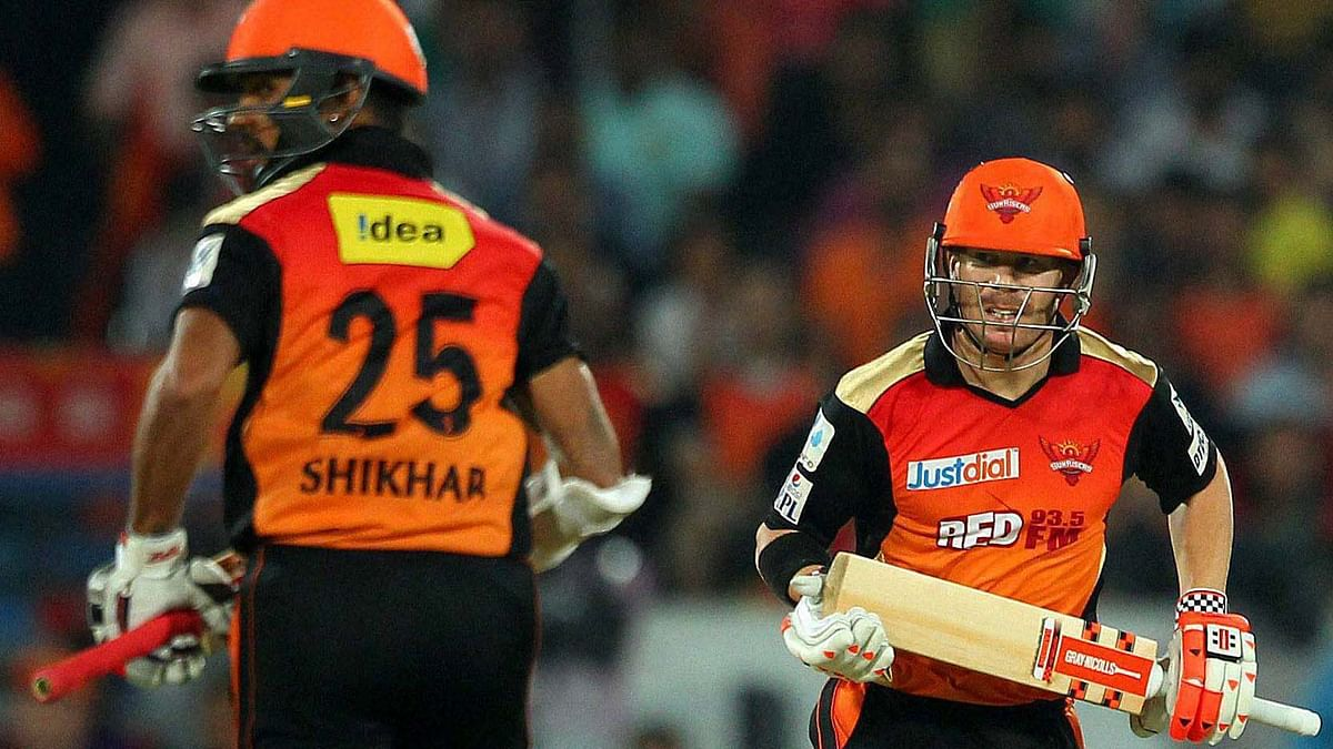 File photo of Shikhar Dhawan of the Sunrisers Hyderabad and David Warner (Photo: PTI)