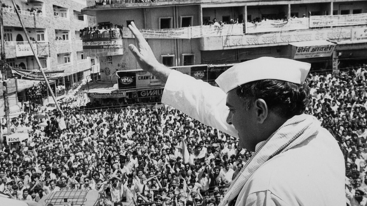 Former PM Rajiv Gandhi at a rally in UP in 1991. (Photo: Reuters)