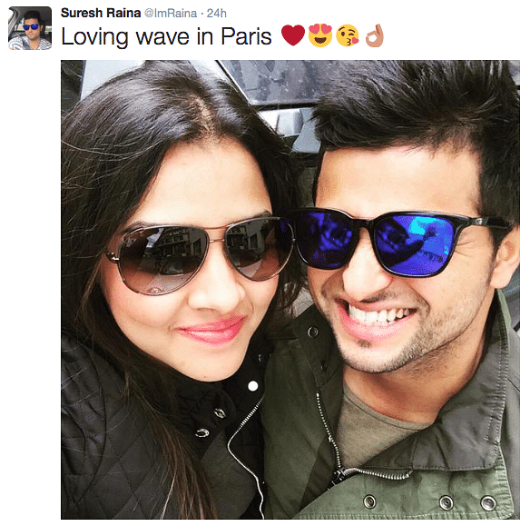 It's Love in Paris for Raina, Posts Pics With Wife on Twitter