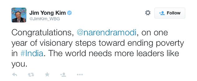 "World Bank President  Lauds ""Visionary"" PM Modi #NaMo365"