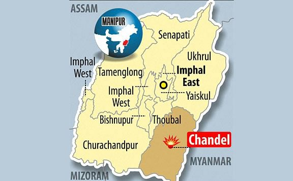 A map of Manipur showing the region that was under attack on June 4.