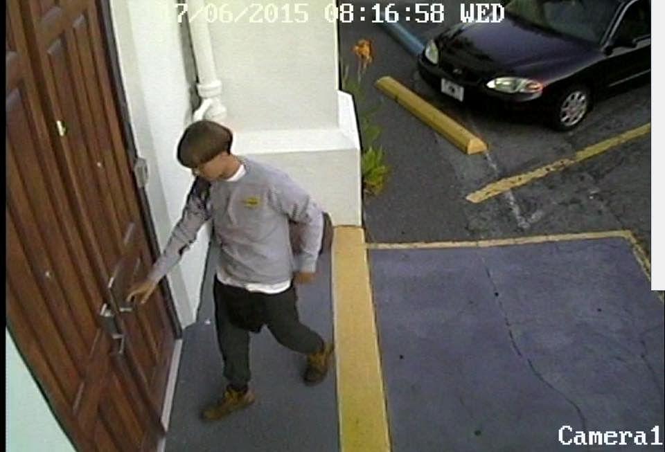 "CCTV image of the gunman entering the church.&nbsp;(Photo: <a href=""https://www.facebook.com/CityCharleston?fref=photo"">City of Charleston, SC Government</a> via Facebook)"