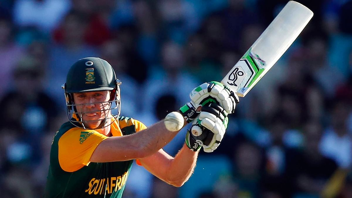 South Africa's ABde Villiers hits a shot during the Cricket World Cup match. (Photo: Reuters)
