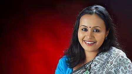 Veena George, first woman Executive Editor of a Malayalam news channel. (Photo Courtesy: <i>The News Minute</i>)