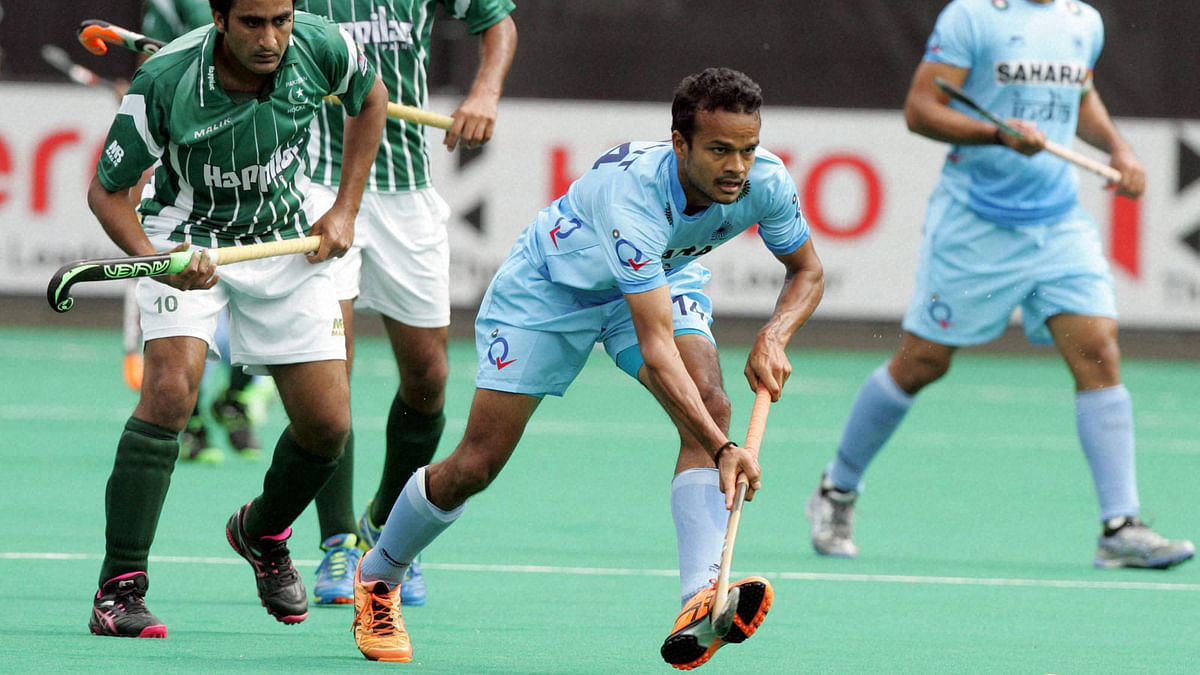 India's Upadhyay Lalit vies for the ball  during the mens Hockey World League semi-finals against Pakistan. (Photo: PTI)