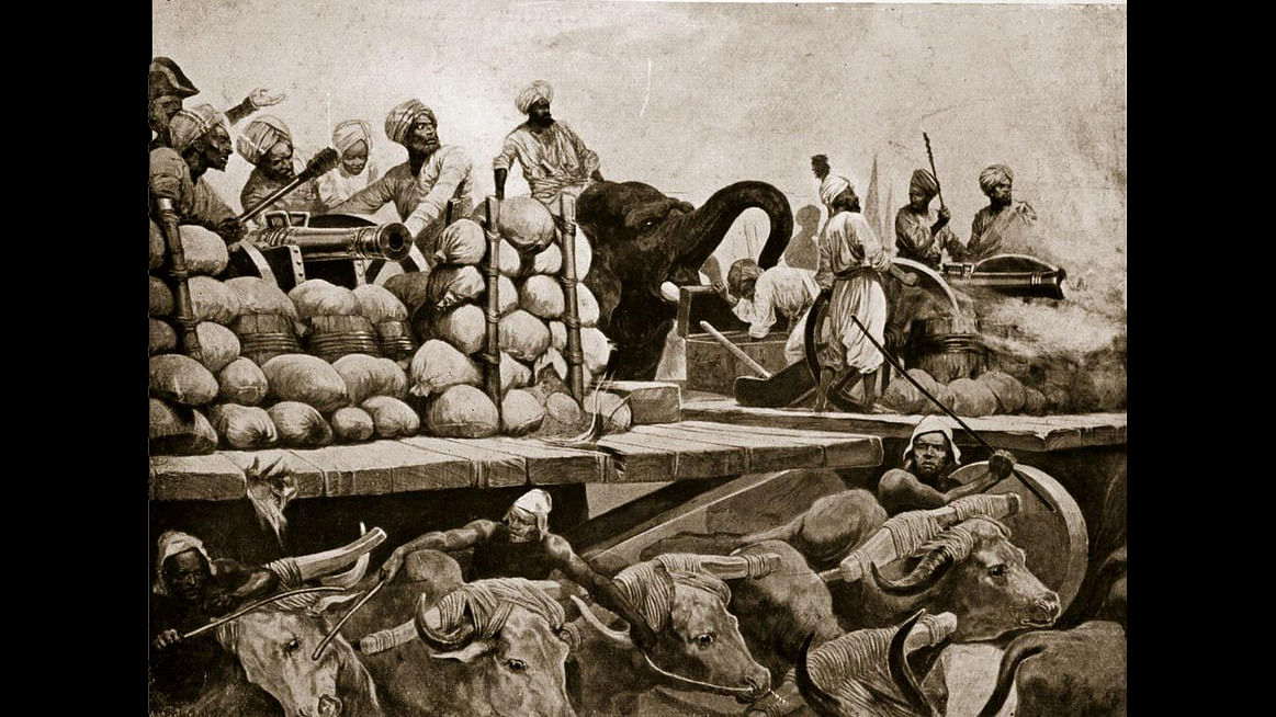 Illustration of Indian soldiers at the Battle of Plassey.