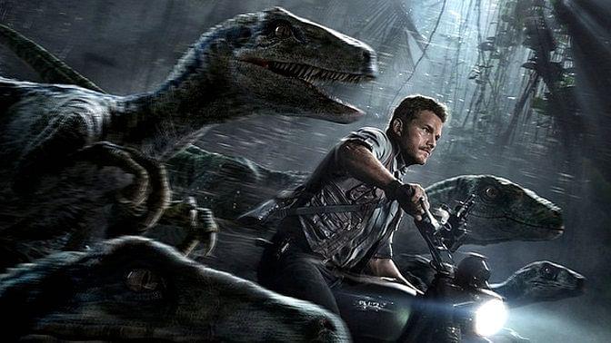 "Chris Pratt, lead actor in Jurassic World, is seen riding alongside his trained raptors. (Courtesy: <i><a href=""https://instagram.com/jurassicworld/"">Jurassic World</a></i>)"