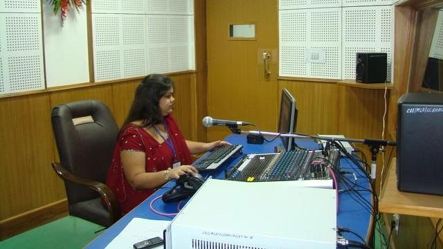 "A radio broadcaster in India. (Photo: <a href=""http://en.wikipedia.org/wiki/File:Community_Radio_Station,_HAU.jpg"">World Development Foundation</a>)"