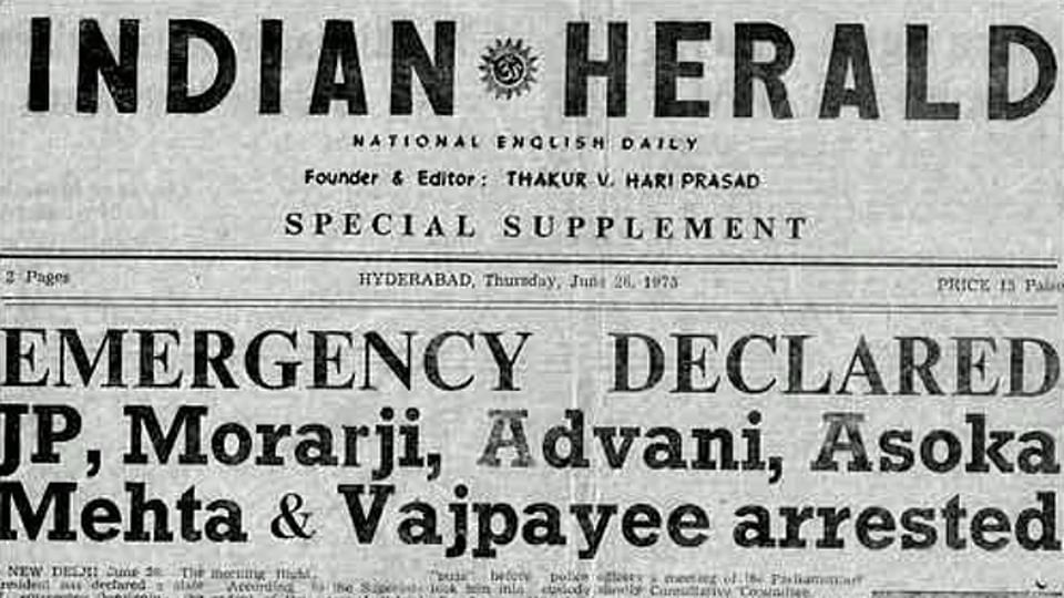 <i>Indian Herald</i>'s front page on June 26, 1975.&nbsp;(Courtesy: Twitter)